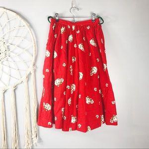 Vintage Red Irish Linen Embroidered Full Skirt